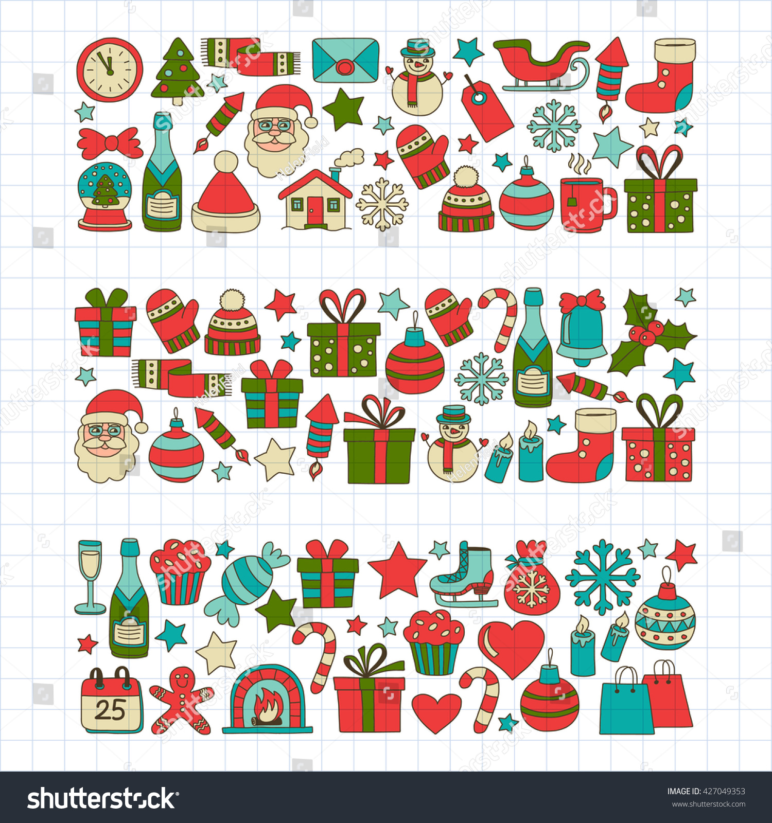 Doodle Vector Icons Merry Christmas And Happy New Year - 427049353 : Shutterstock