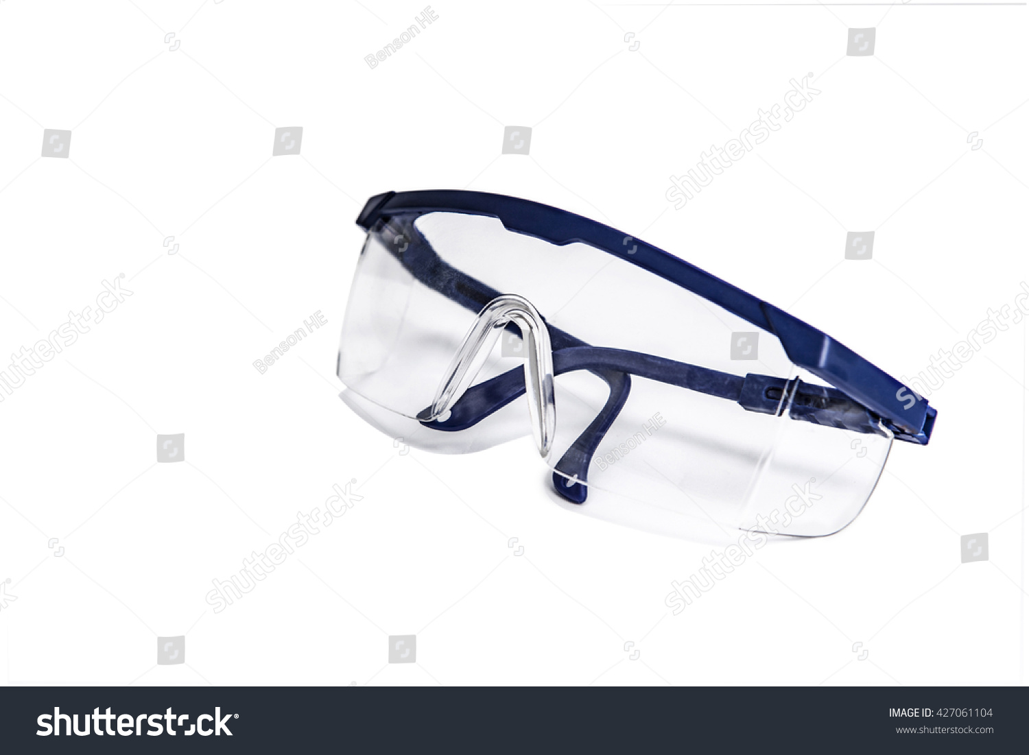 Transparent Safety Goggles Blue Frames Power Stock Photo (Royalty ...