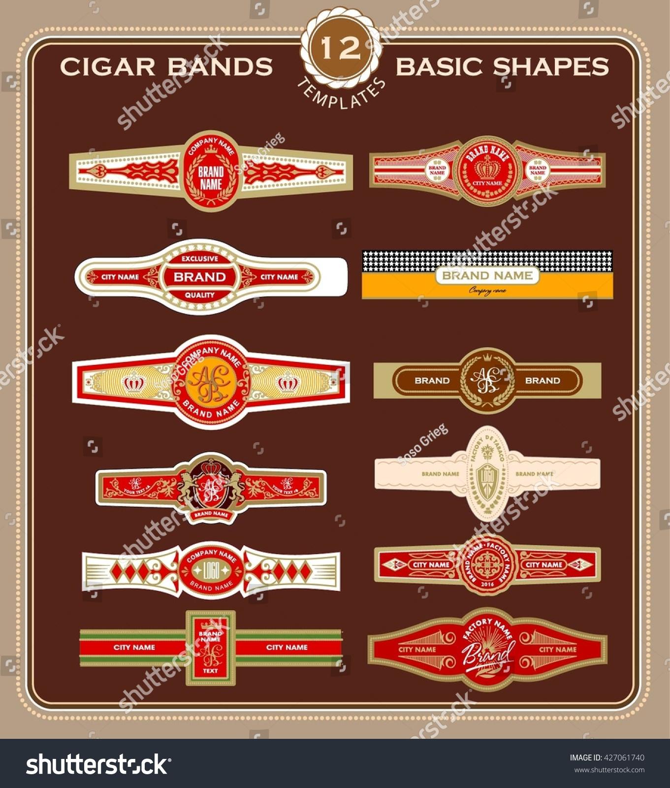 Set Cigar Band Design Templates Stock Vector Royalty Free