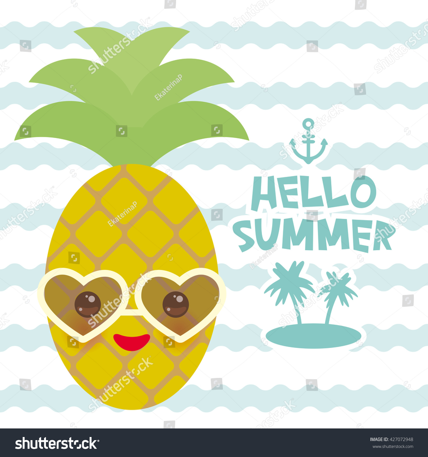 Hello Summer Cute Funny Kawaii Exotic Stock Vector 427072948 - Shutterstock