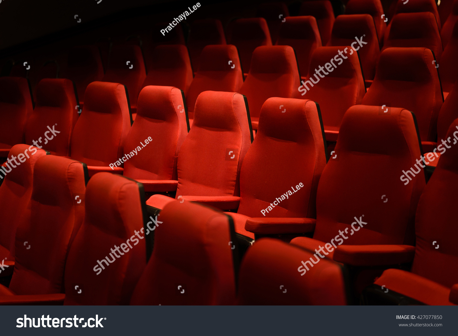 Interiors Empty Red Cinema Chairs, Red Seats. Low Key