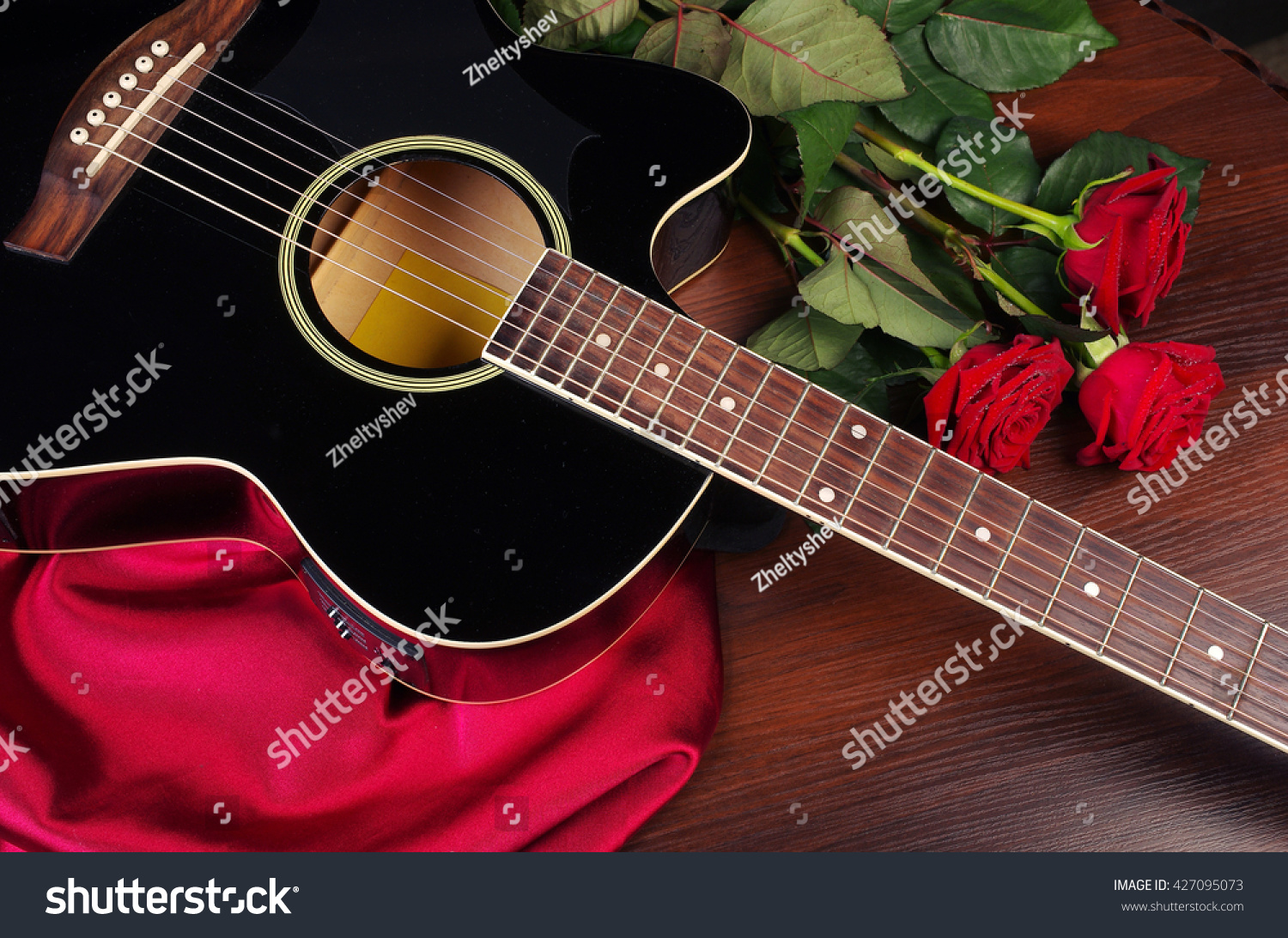 Acoustic Guitar Red Roses Stock Photo Edit Now 427095073
