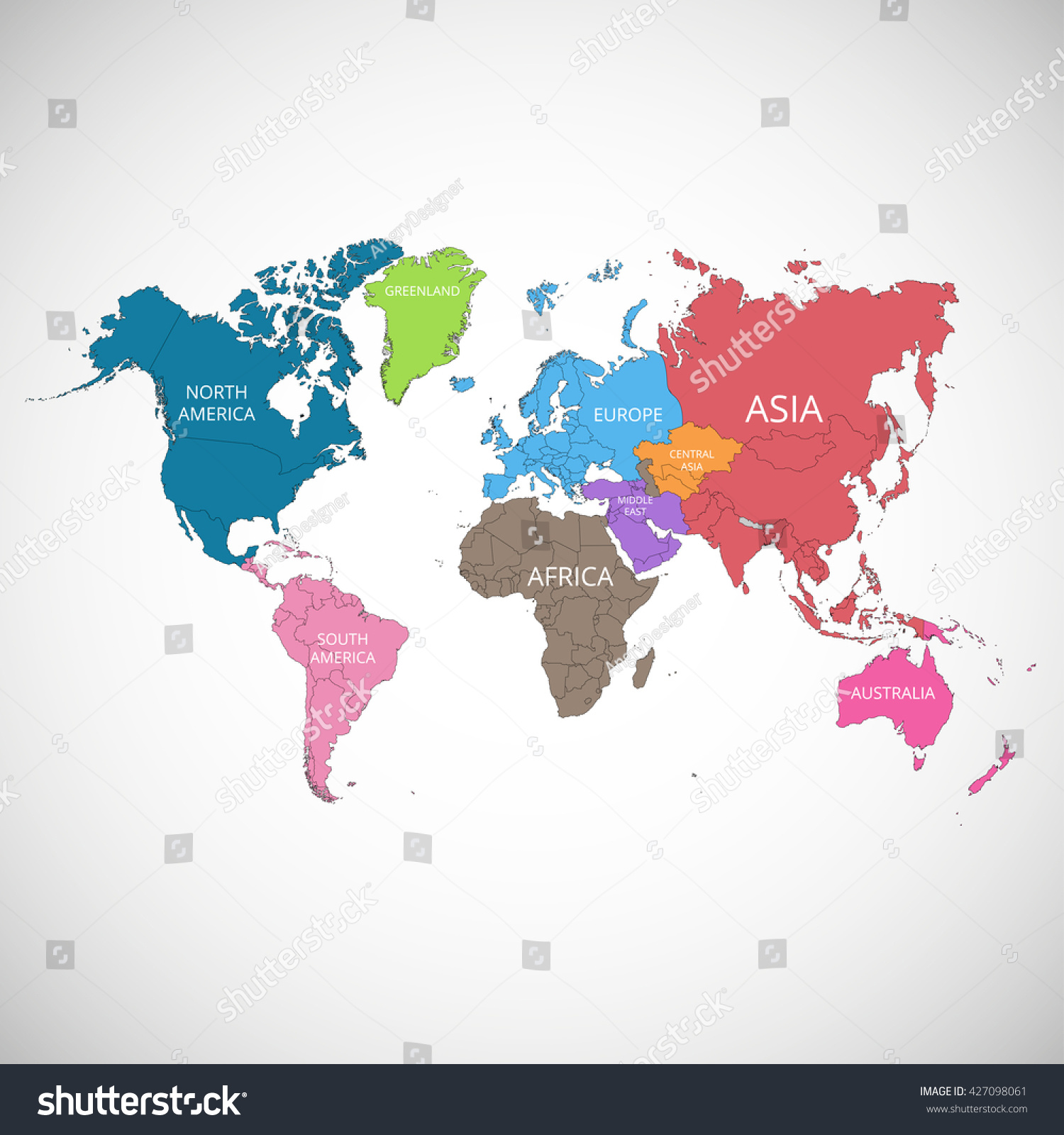 World map names continents vector illustration vector de world map with the names of the continents vector illustration gumiabroncs Gallery
