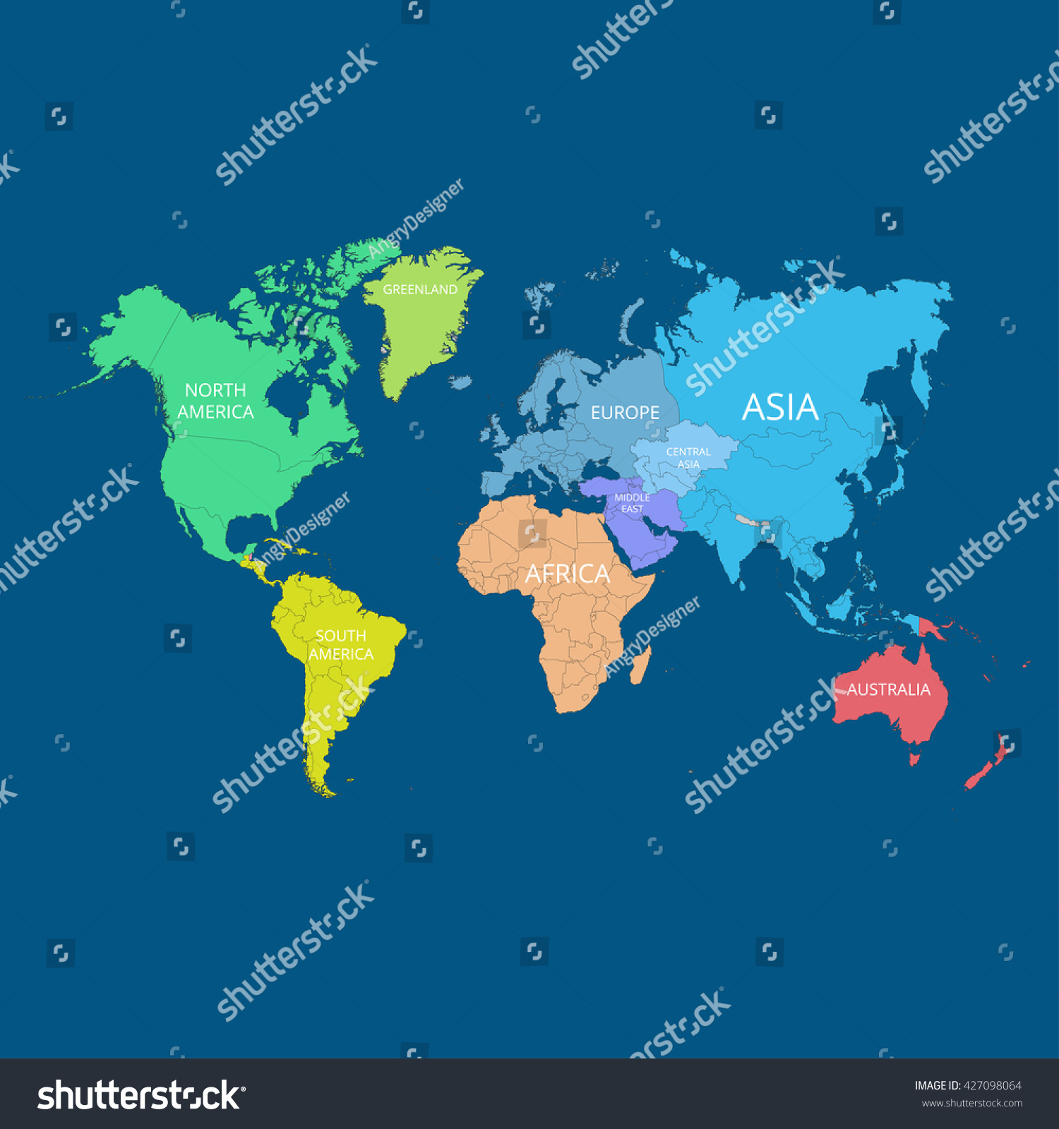 World map names continents vector illustration vectores en stock world map with the names of the continents vector illustration gumiabroncs Gallery