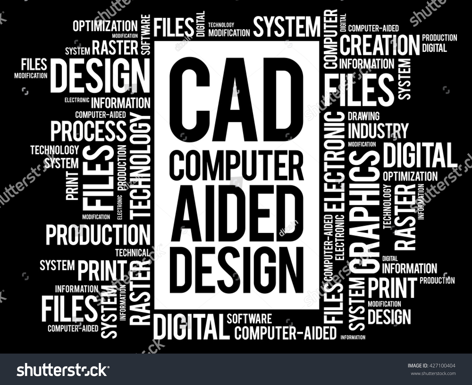 cad computer aided design word cloud stock vector 427100404 shutterstock