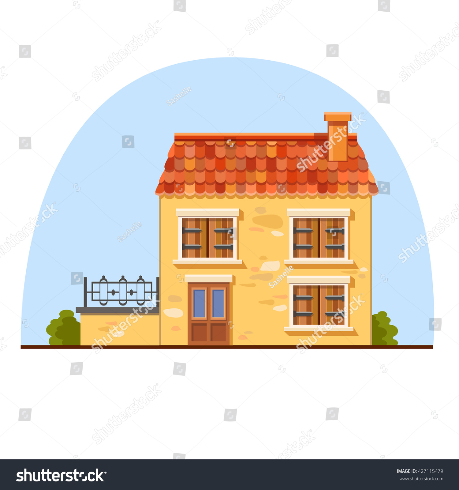 Cute vector yellow house red tile stock vector 427115479 for Yellow and red house