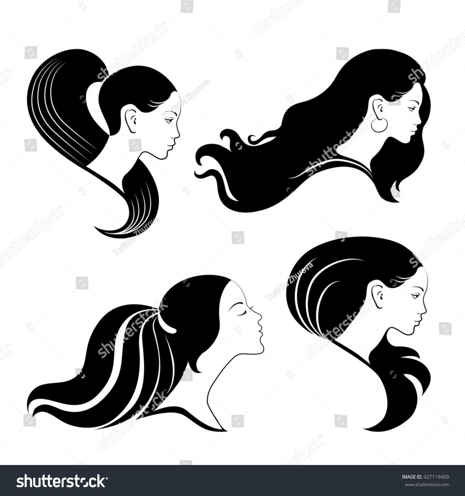 Nice Logo Girls Long Hairs Vector Stock Vector 427119409