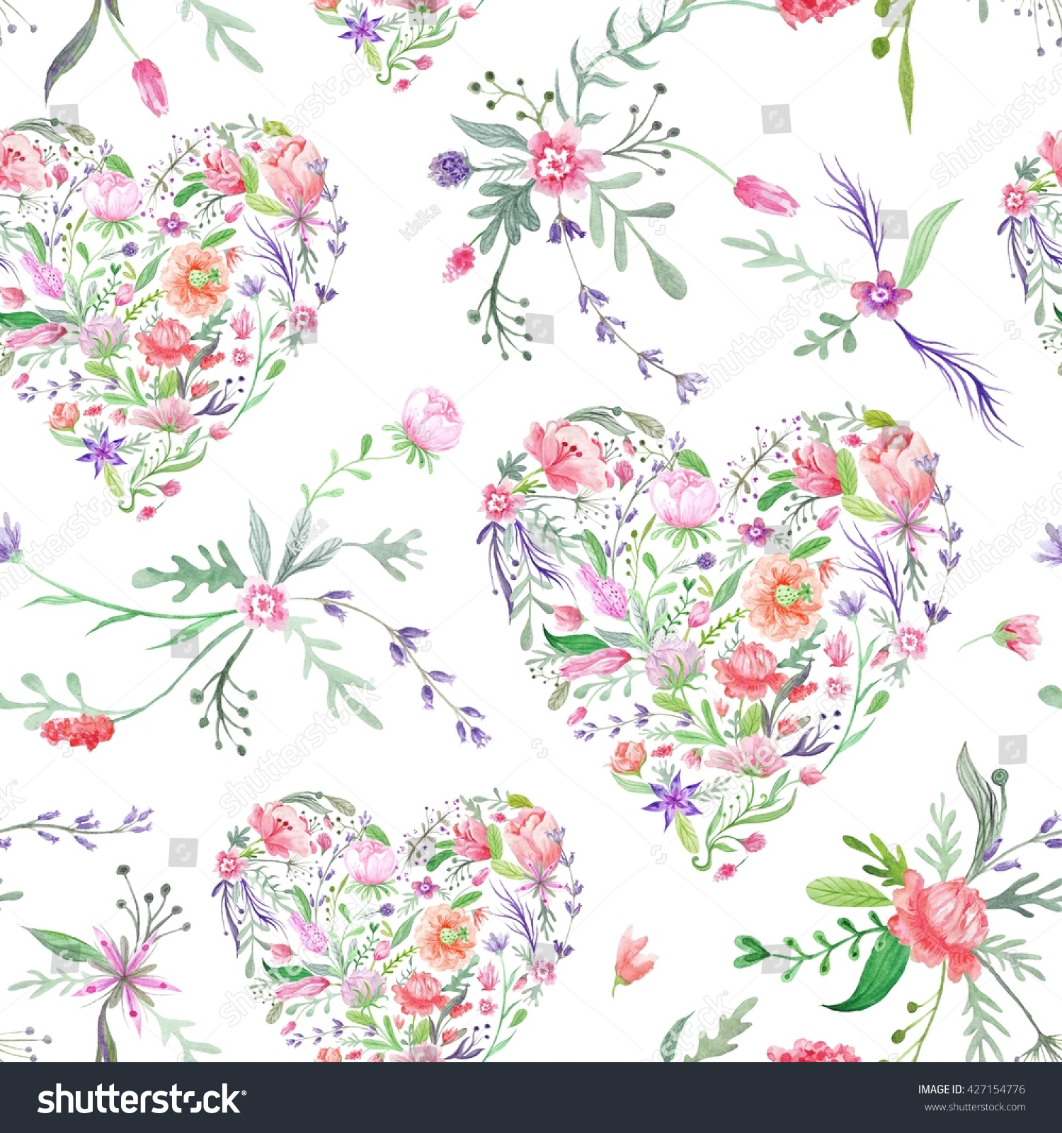 Provence Watercolor Pattern With Floral Hearts Seamless Hand