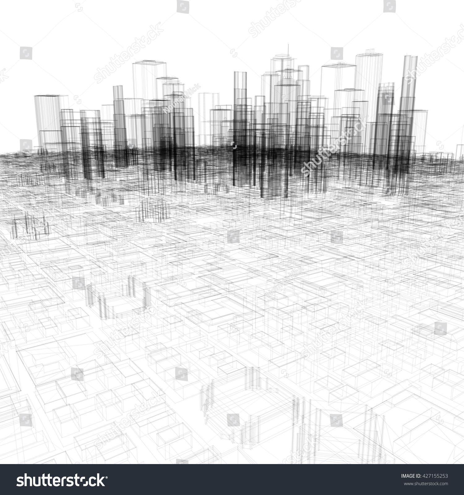 Pencil sketch of new york city 3d rendering