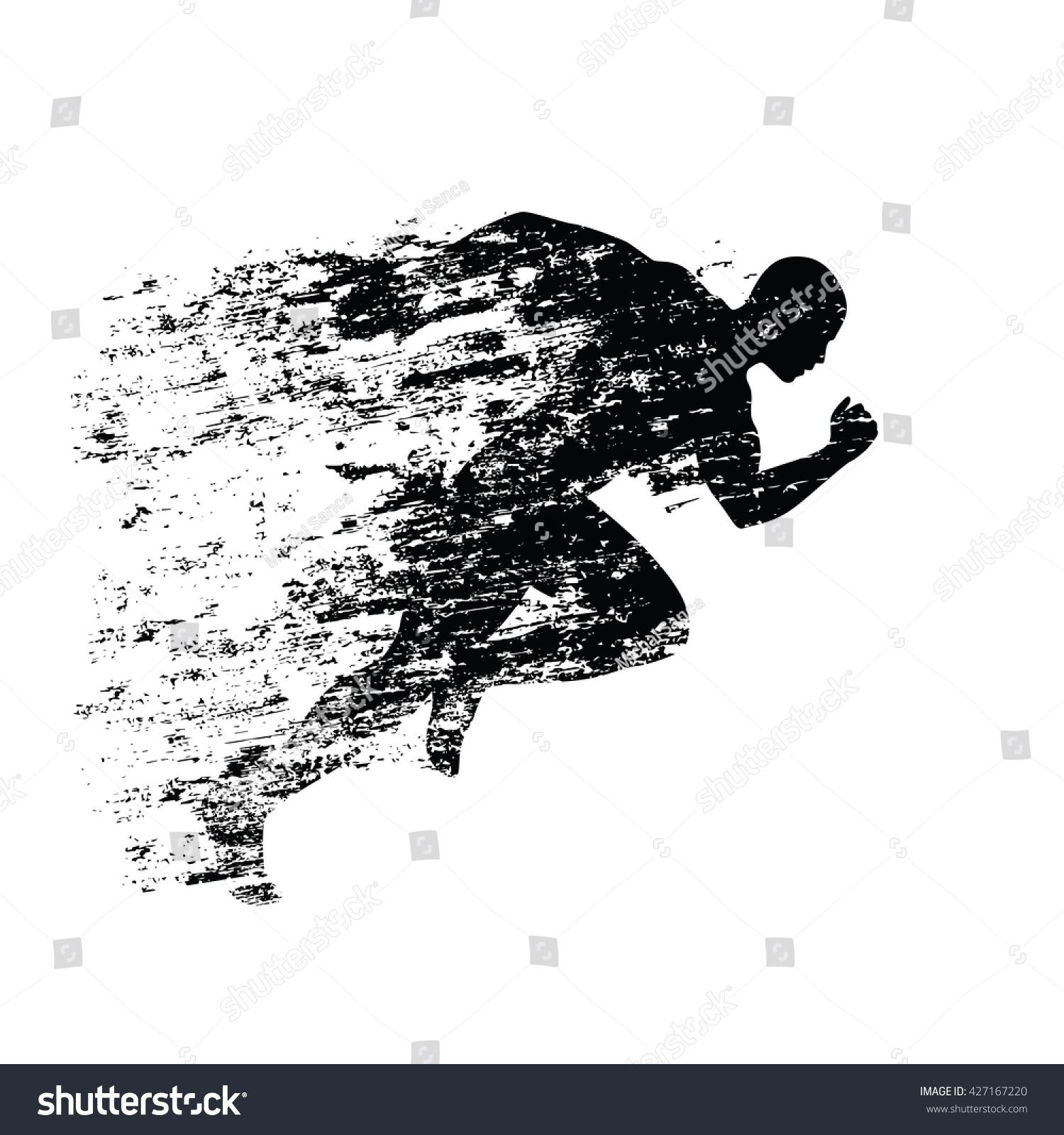 Man running silhouette vector free