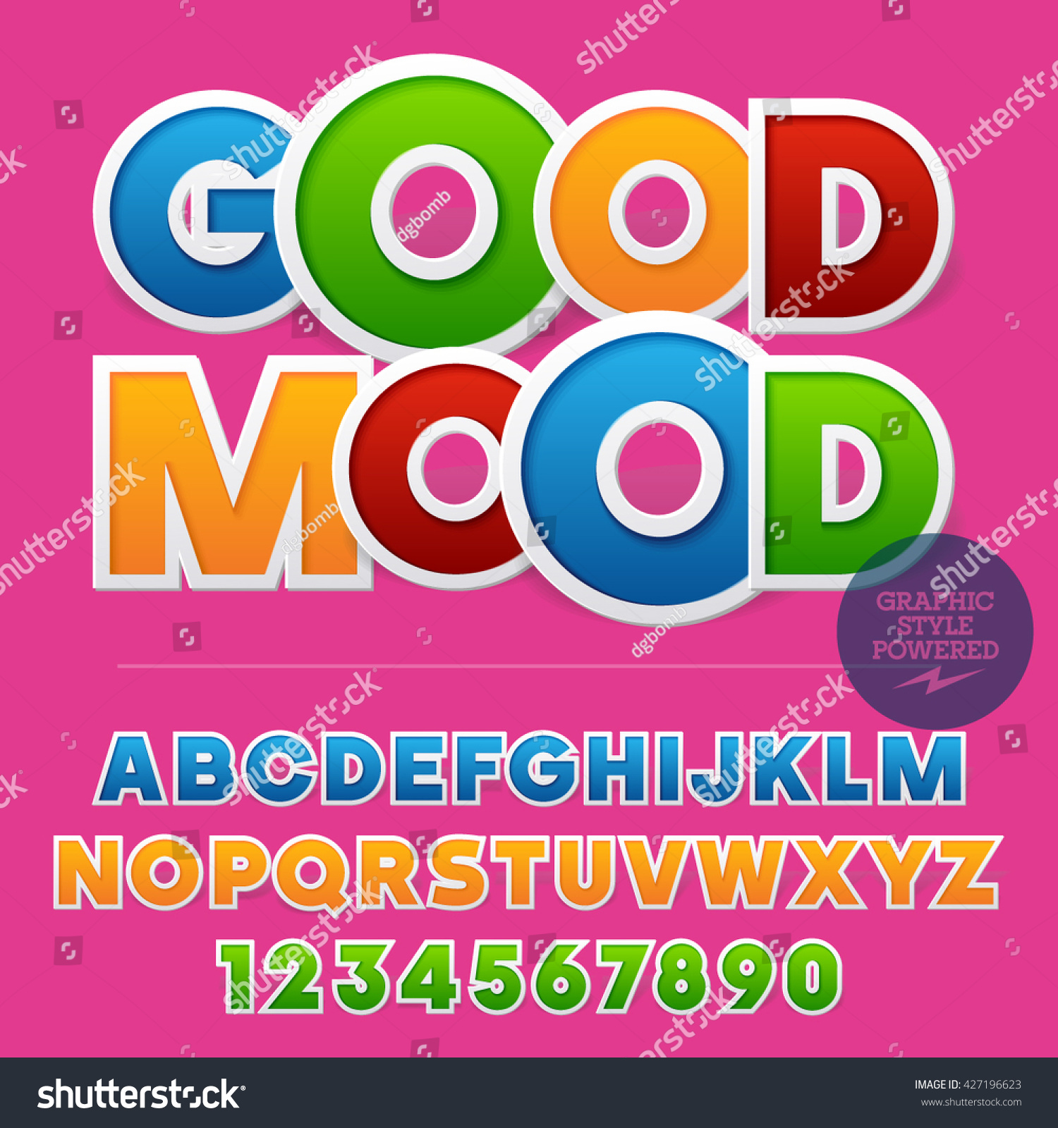 Colorful Sticker Styled Set Alphabet Letters Stock Vector (Royalty ...