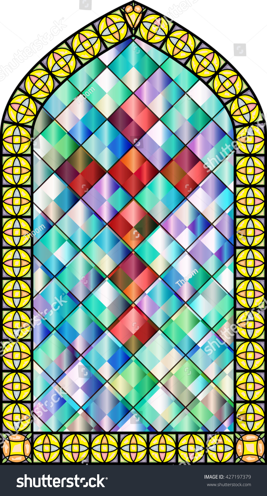 Church Stained Glass Windows With A Cross Vector Color Illustration