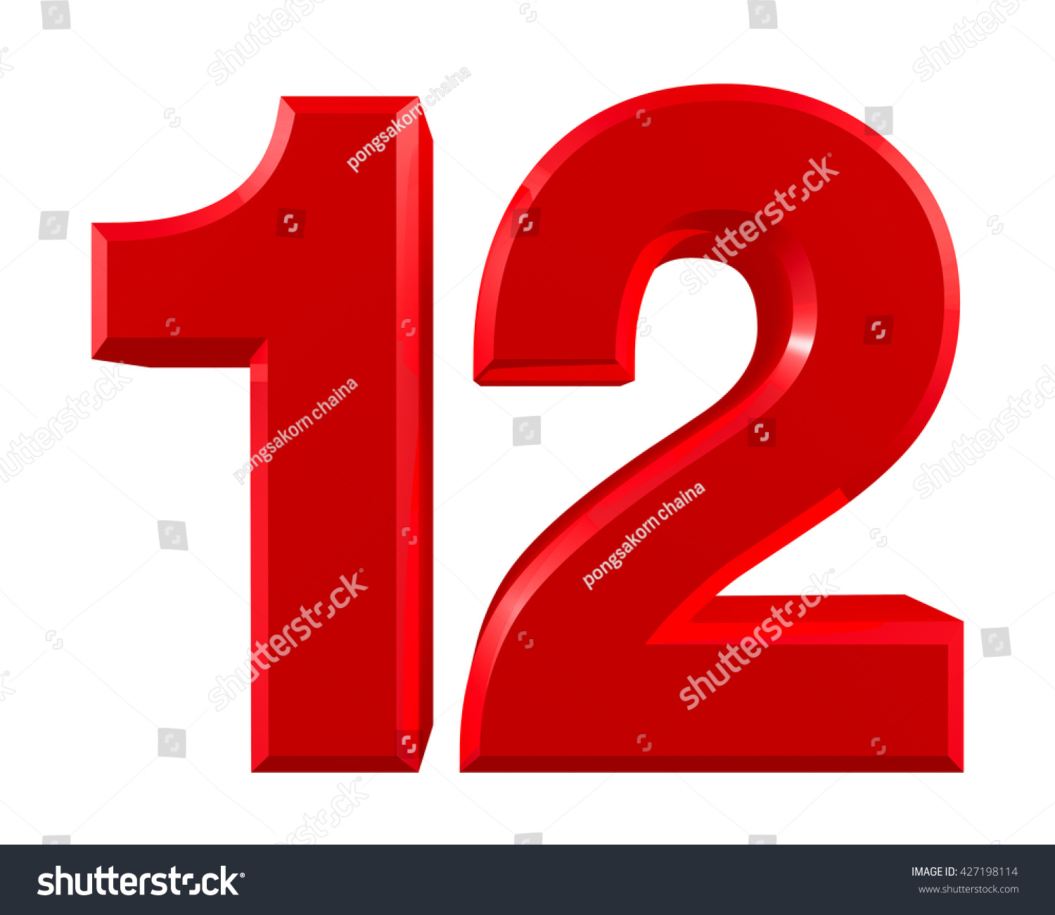 Red numbers 12 on white background illustration 3d rendering