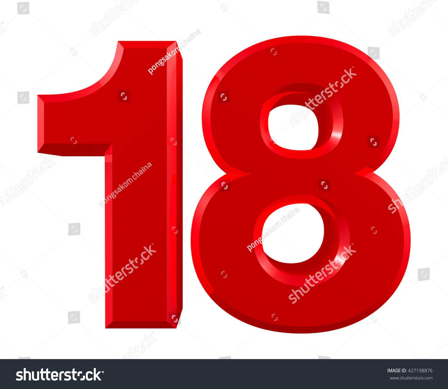 red numbers 18 on white background stock illustration free clip art numbers 1-10 free clip art numbers and letters