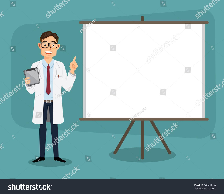doctor clipboard giving medical presentation cartoon stock vector