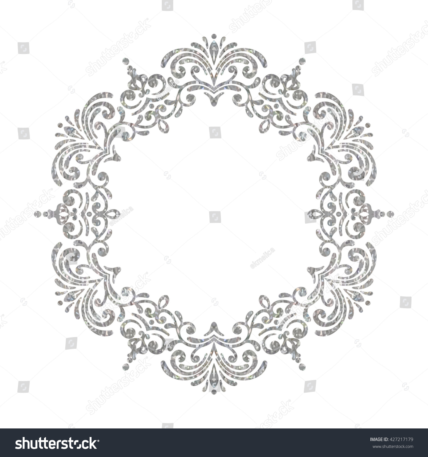 elegant luxury vintage circle silver floral stock vector