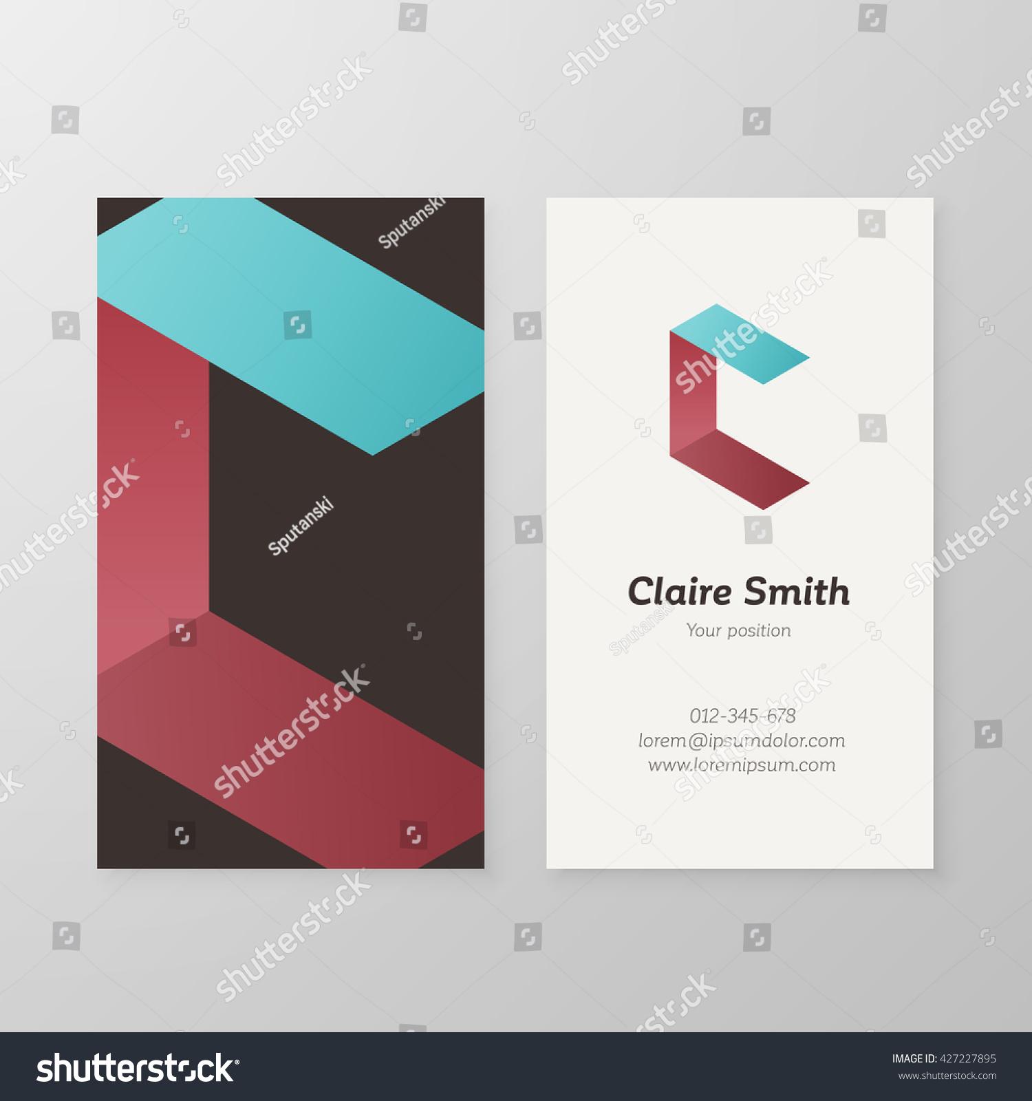Business Card Isometric Logo Letter C Stock Vector 427227895 ...