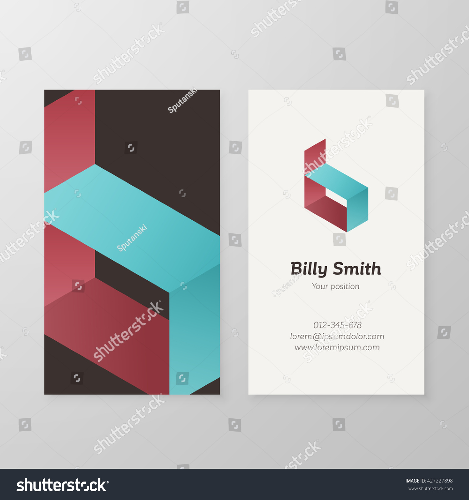 Business Card Isometric Logo Letter B Stock Vector 427227898 ...