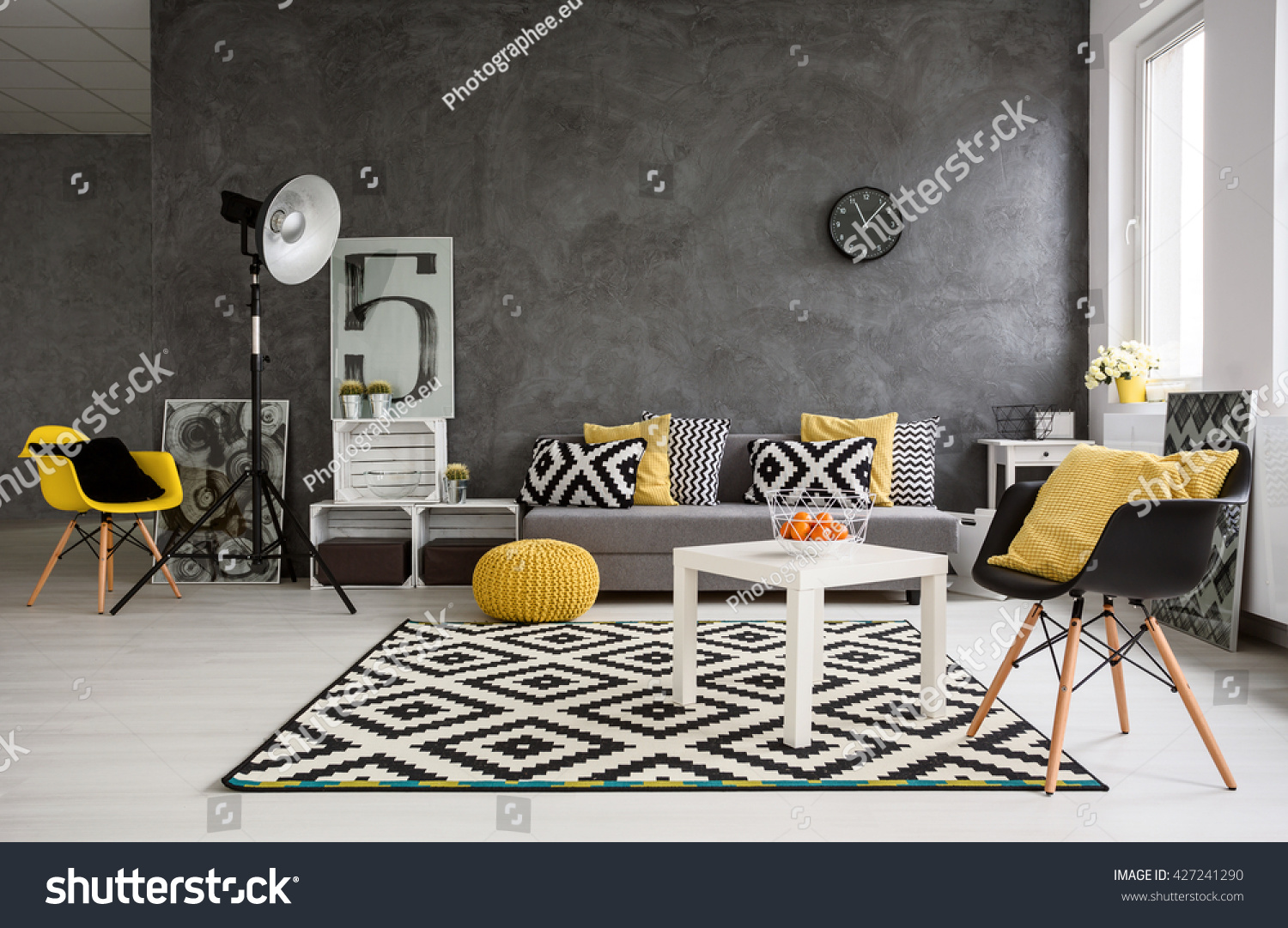 Gray White And Yellow Living Rooms Decorating With White
