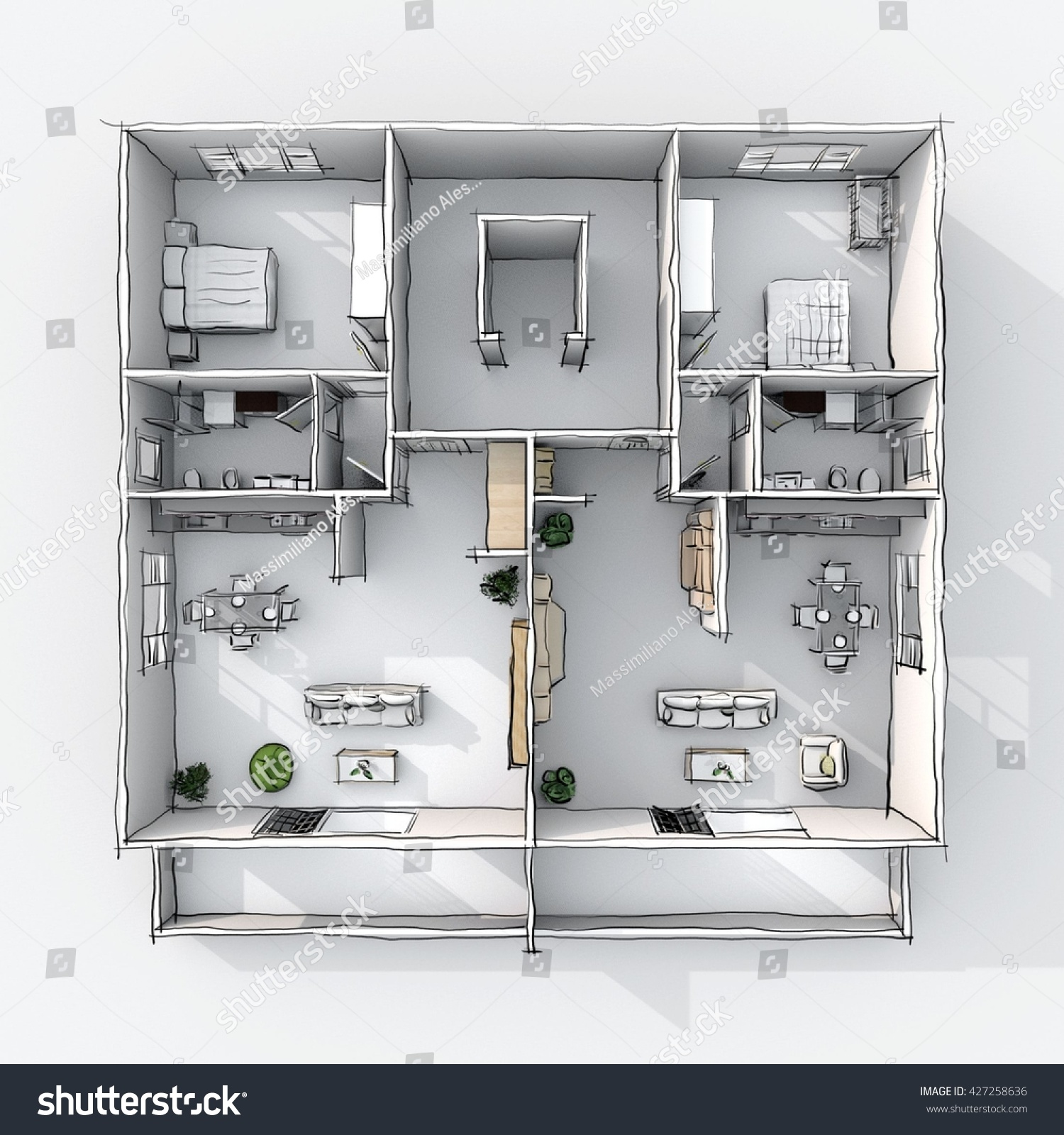 3d interior freehand sketch drawing plan view of furnished for 3d bedroom drawing