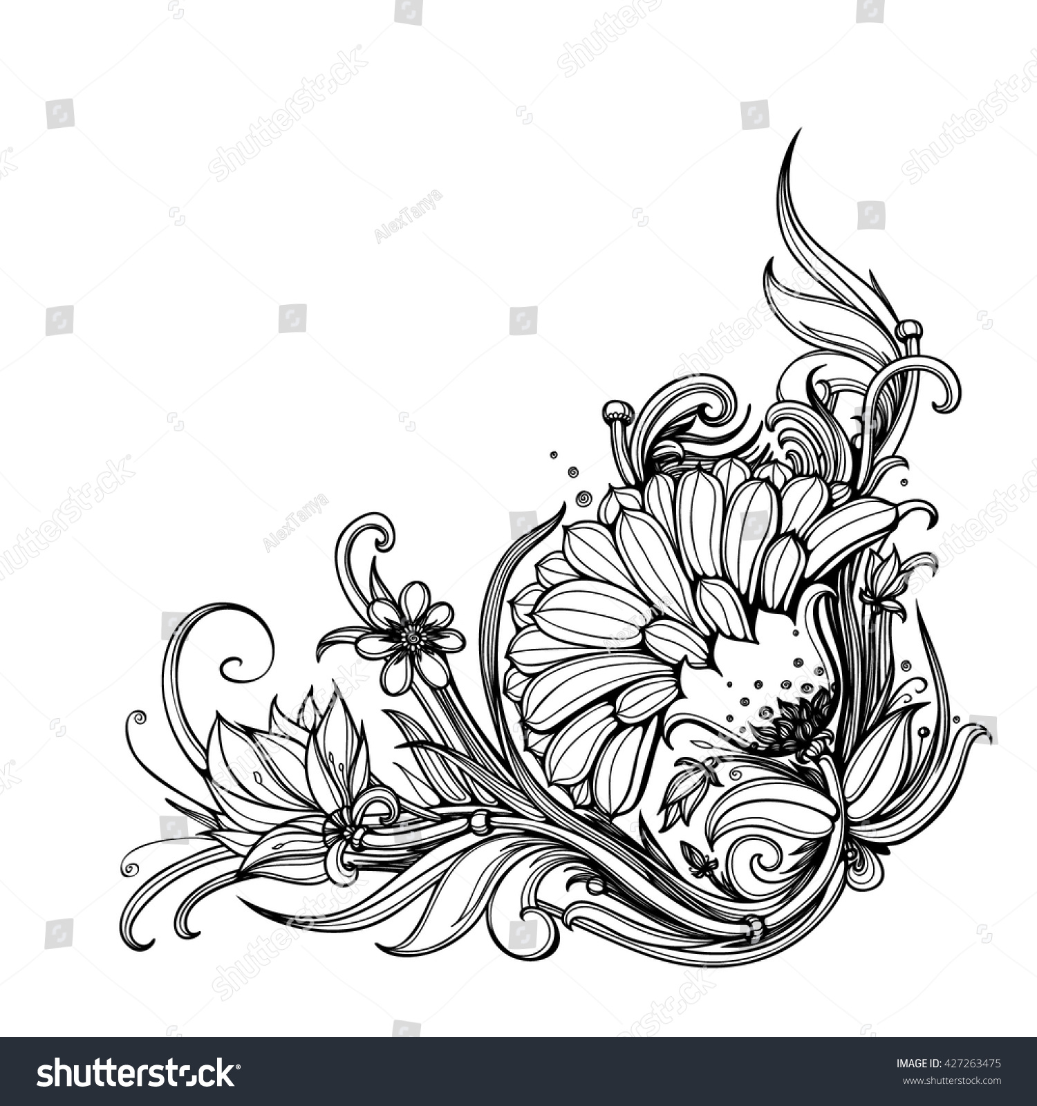 Decorative Black Flower Border Stock Image: Vector Black White Floral Corner Border Stock Vector