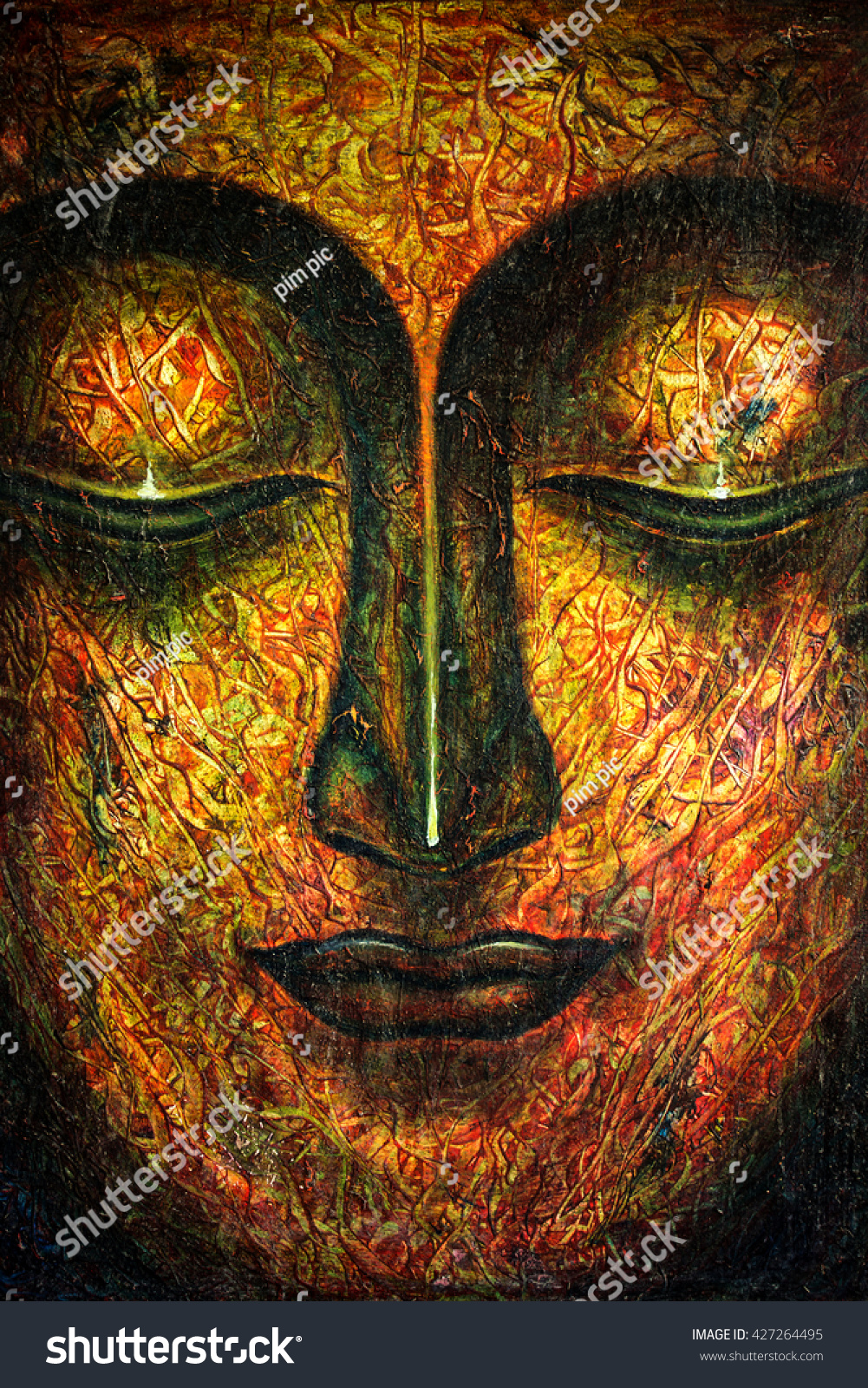 Oil painting by hand buddha face stock illustration for Texture painting on canvas
