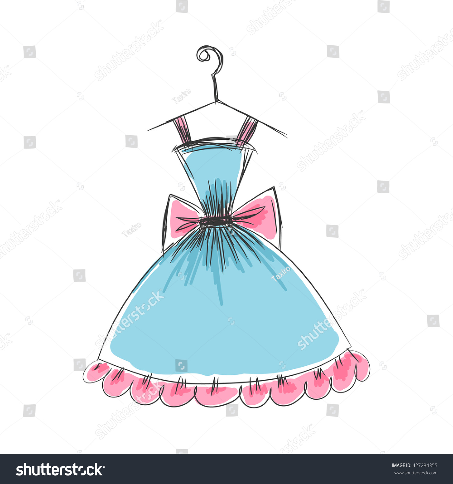 Ball Gown Hand Drawing Sketch Female Stock Vector (Royalty Free ...