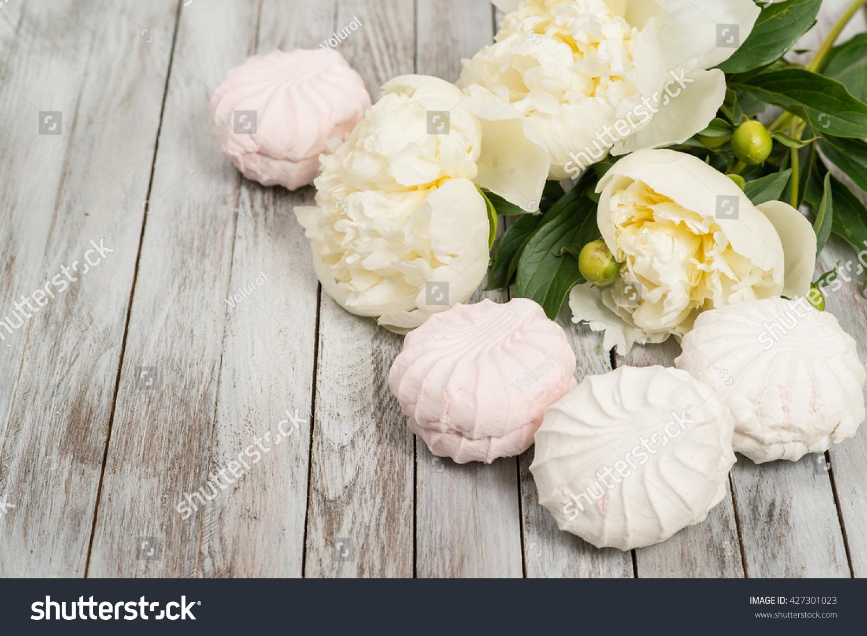 Beautiful White Peonies Flowers Marshmallows On Stock Photo Edit