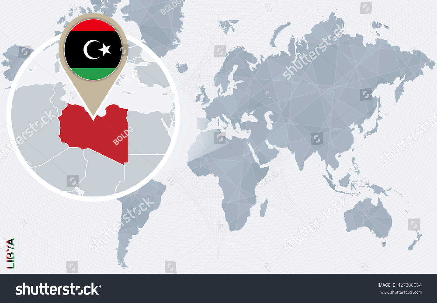 Abstract Blue World Map Magnified Libya Stock Vector 427308064