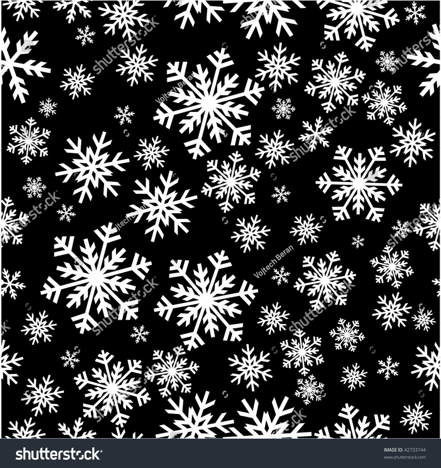 christmas texture snowflakes black background stock vector