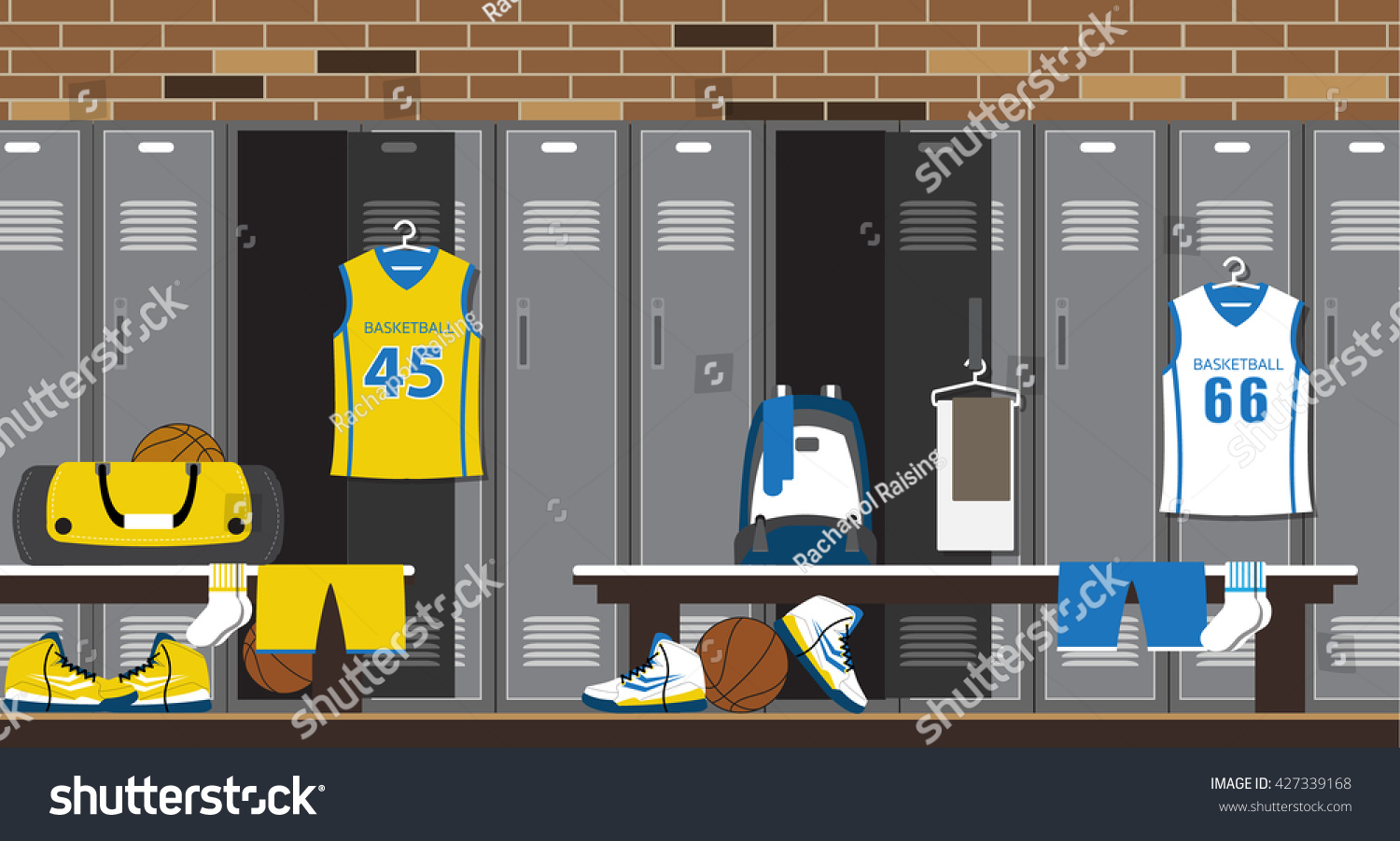Interior gym locker room basketball sport stock vector