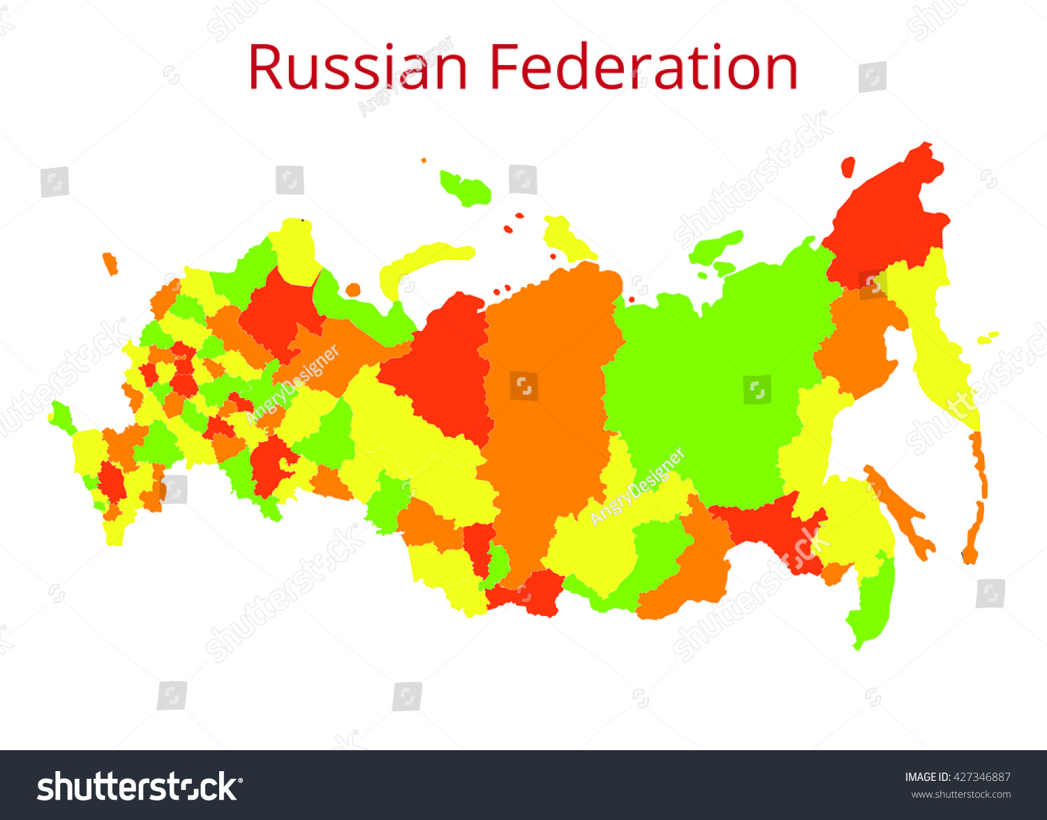 Russian Federation Map Vector Illustration Stock Vector 427346887