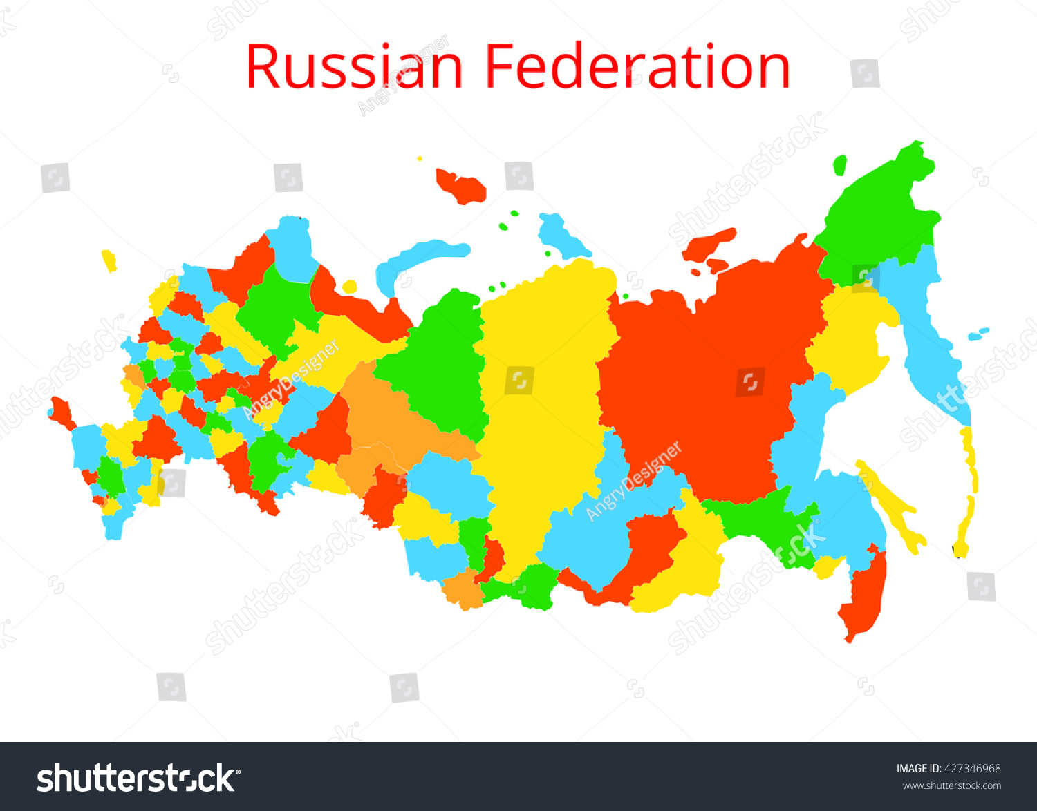 Russian Federation Map Vector Illustration Stock Vector 427346968