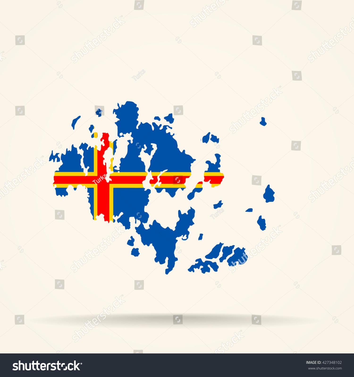 Map Aland Islands Aland Islands Flag Stock Vector - Aland islands world map