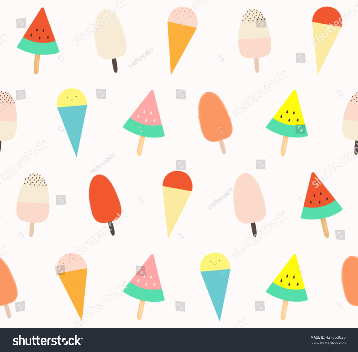 Sweet Ice Cream Flat Colorful Seamless Pattern Vector: Cute Different Colorful Ice Cream Design Stock Vector