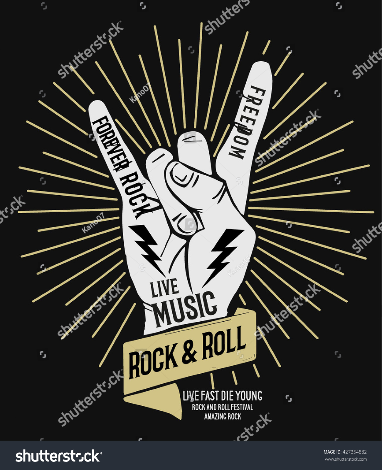 hand drawn rock festival poster rock stock vector royalty free