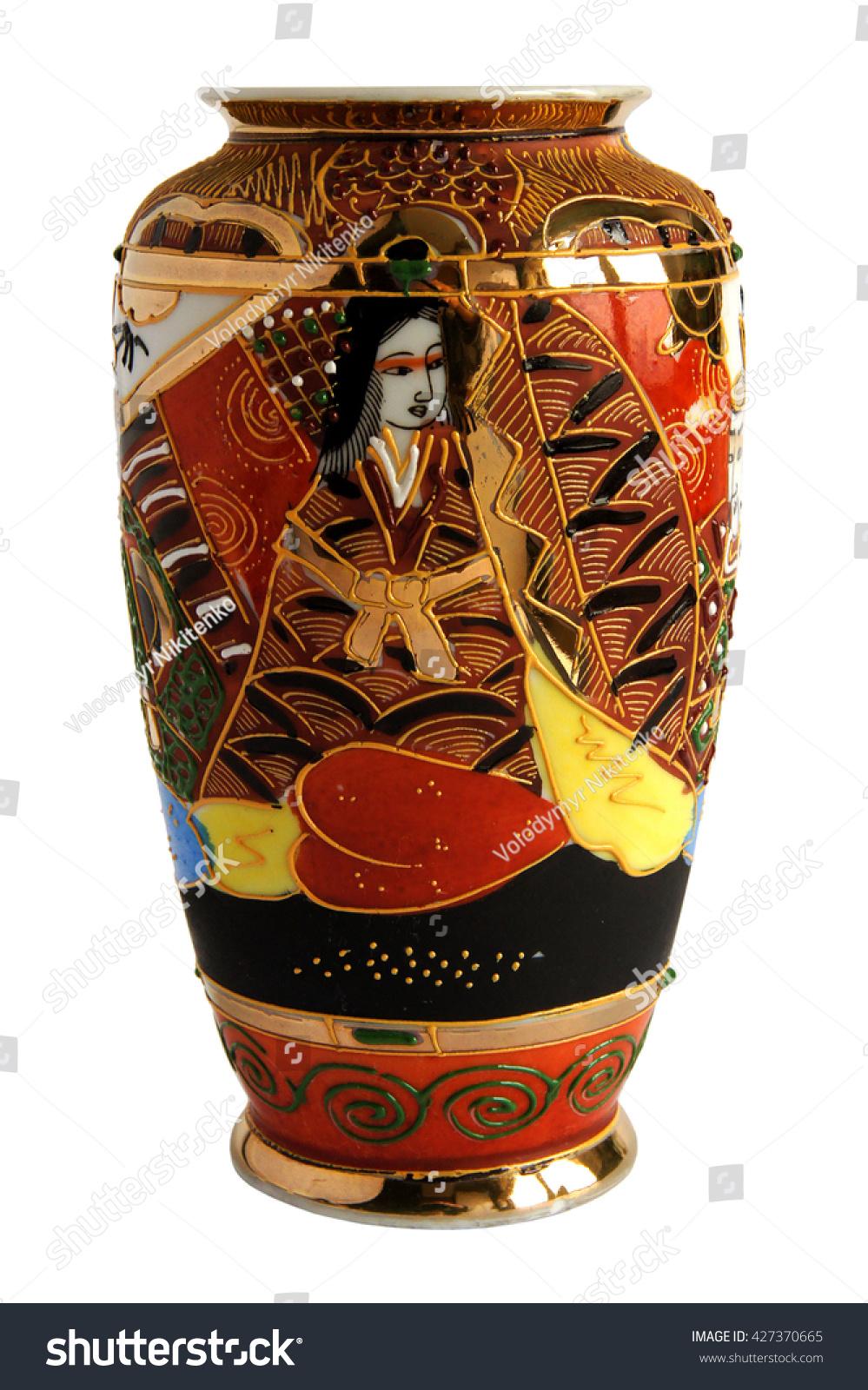Antique japanese vase isolated on white stock photo 427370665 antique japanese vase isolated on white background reviewsmspy