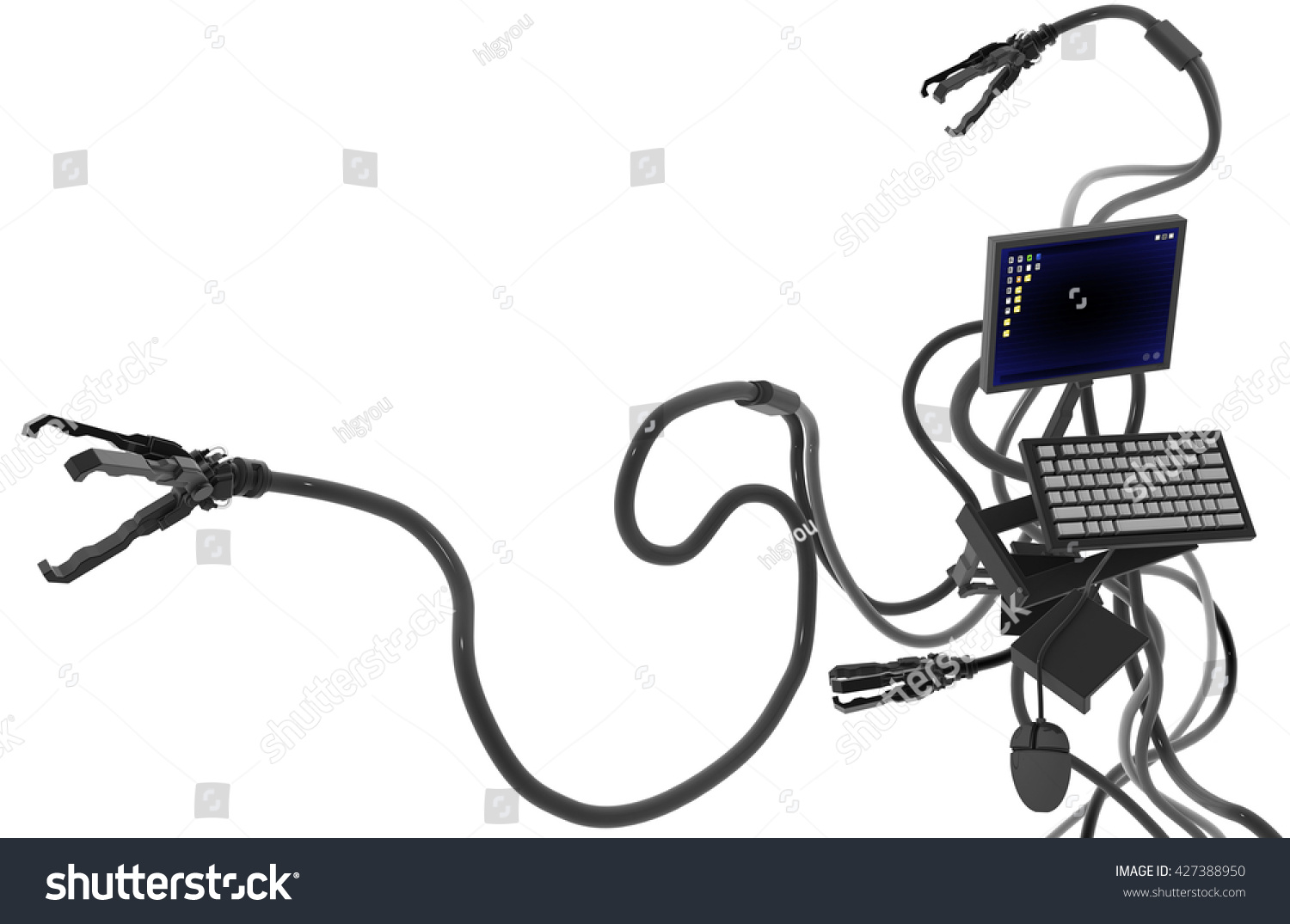 Computer Robot Electronics Technology Abstract Isolated Stock ...