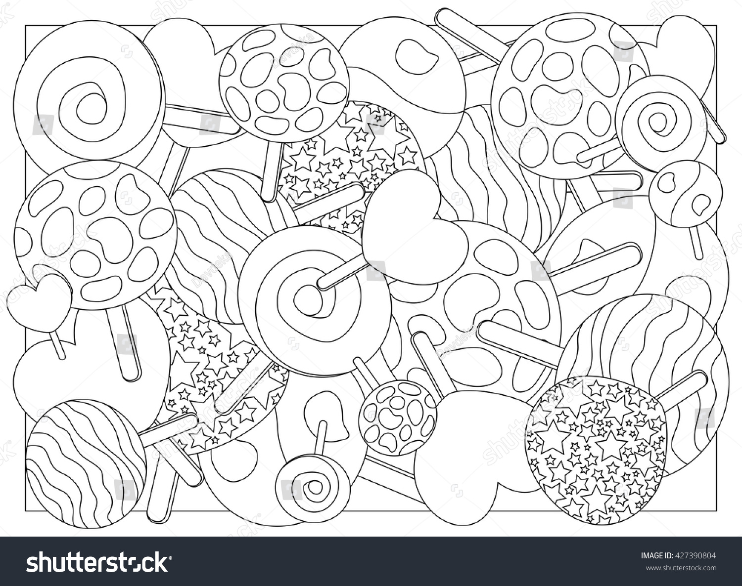 Coloring Page Lollipops Vector Illustration Lollipop Stock Vector