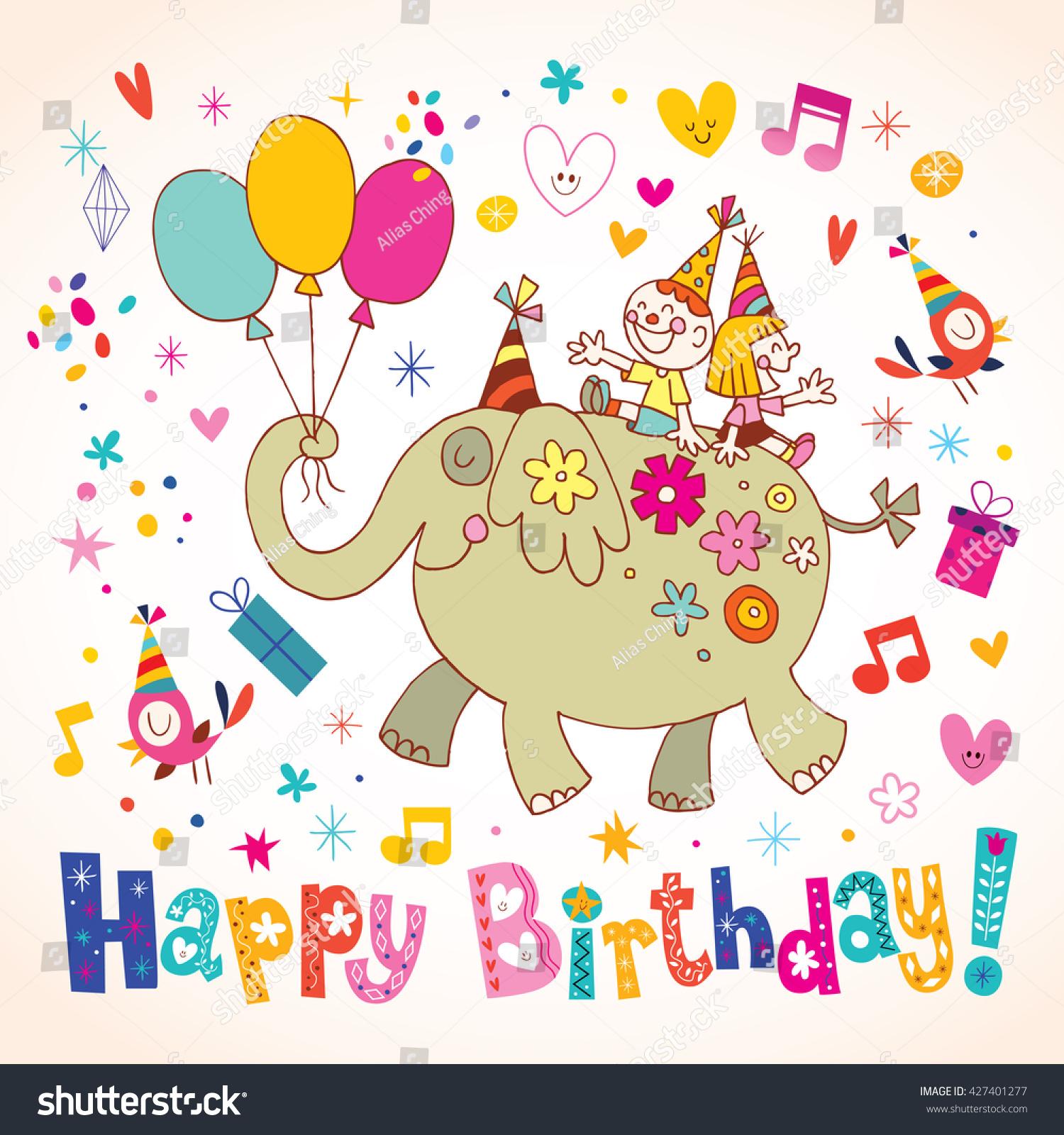 Happy Birthday Kids Greeting Card Stock Vector