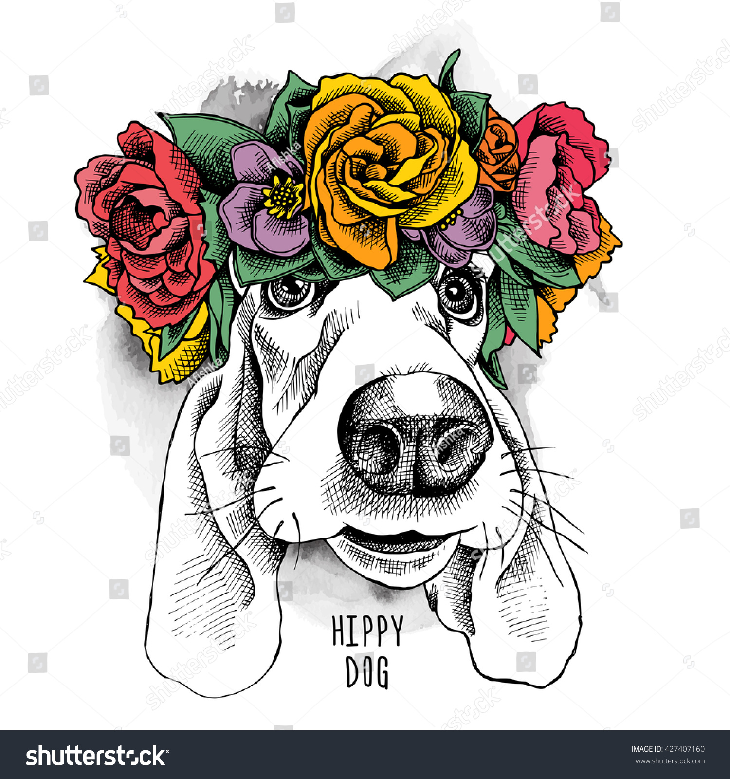 Basset Hound Hippie Portrait Floral Head Stock Vector 427407160 ...