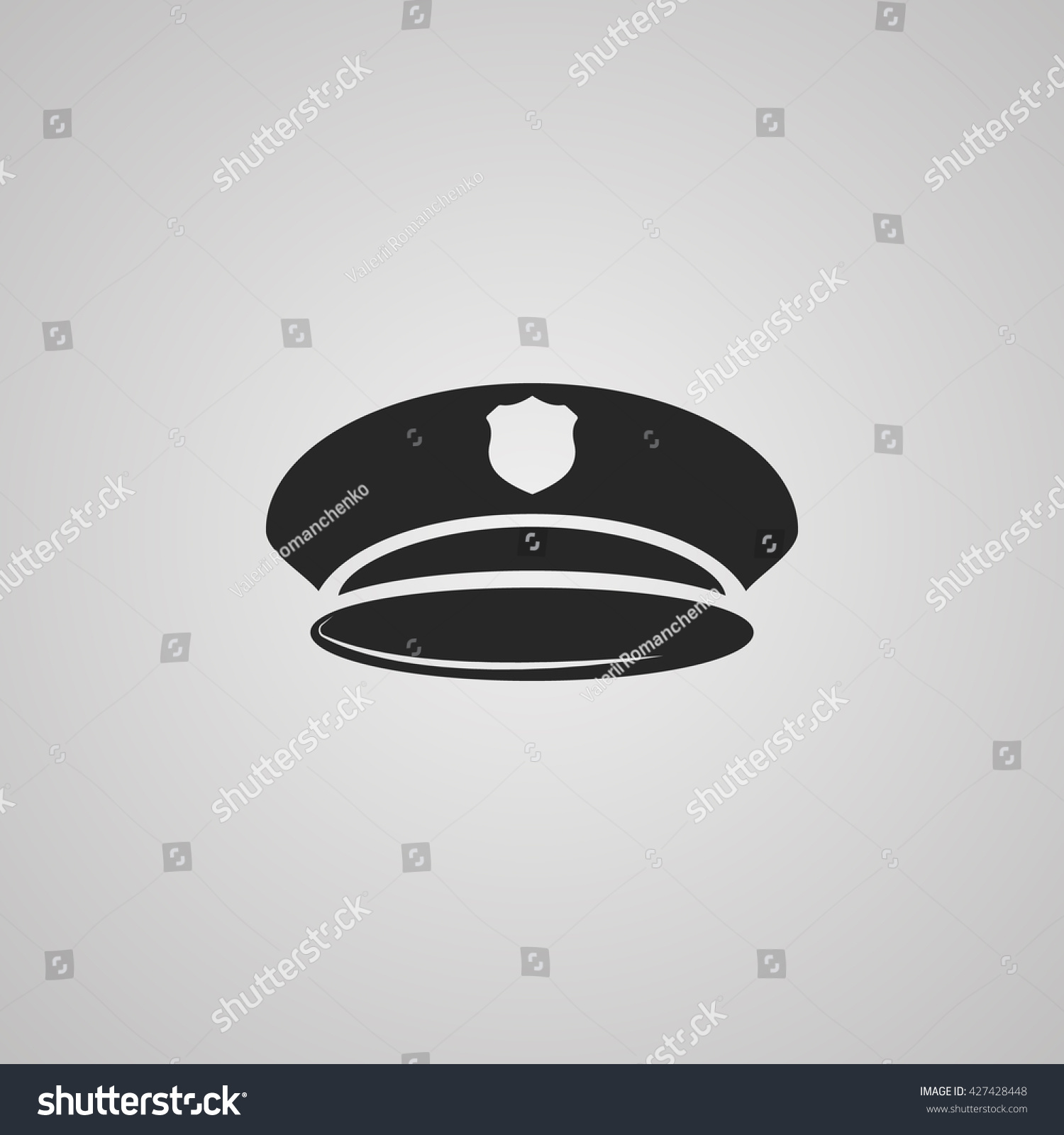 6a97af84b18 Vector Illustration Modern Police Hat Icon Stock Vector (Royalty ...