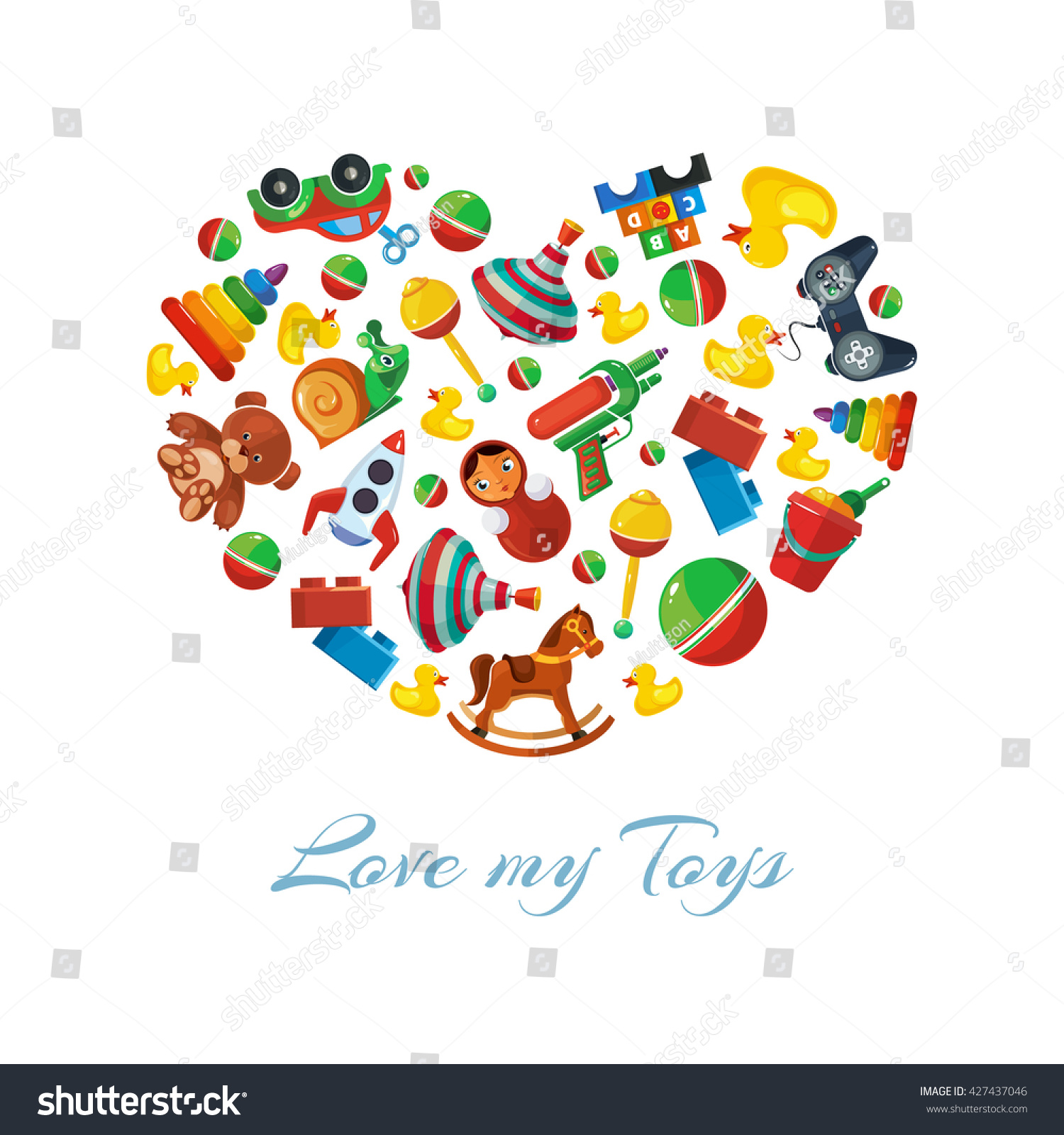 Toys Icons Kids Shape Heart Stock Vector Royalty Free 427437046