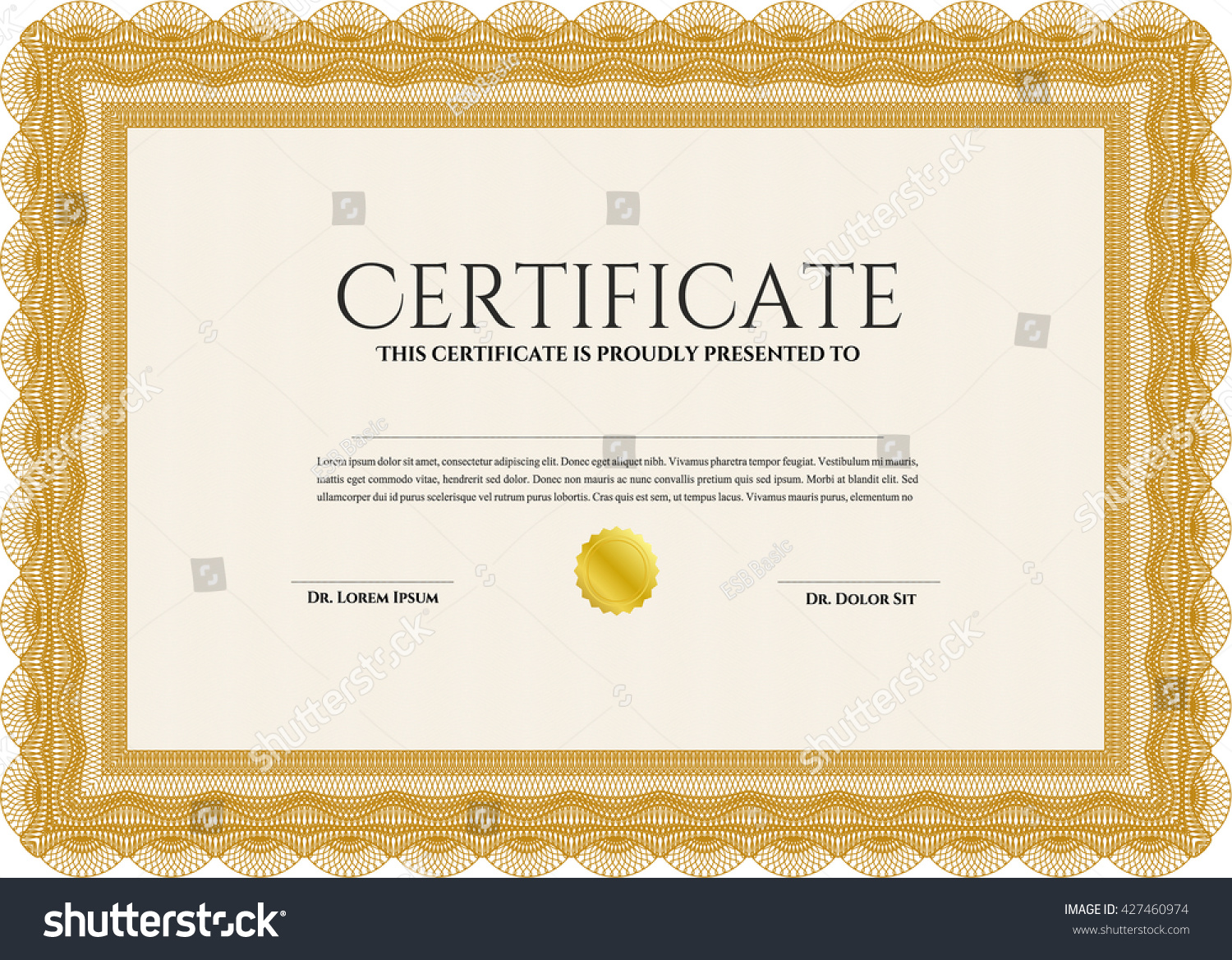 Orange Diploma Template Certificate Template Quality Stock Vector