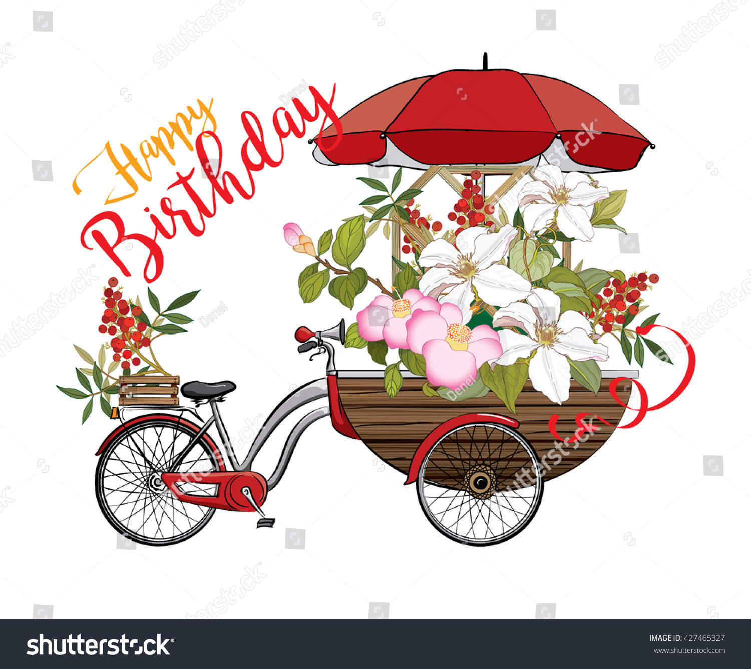 Happy Birthday Card With Flower Vector Illustration EPS 10