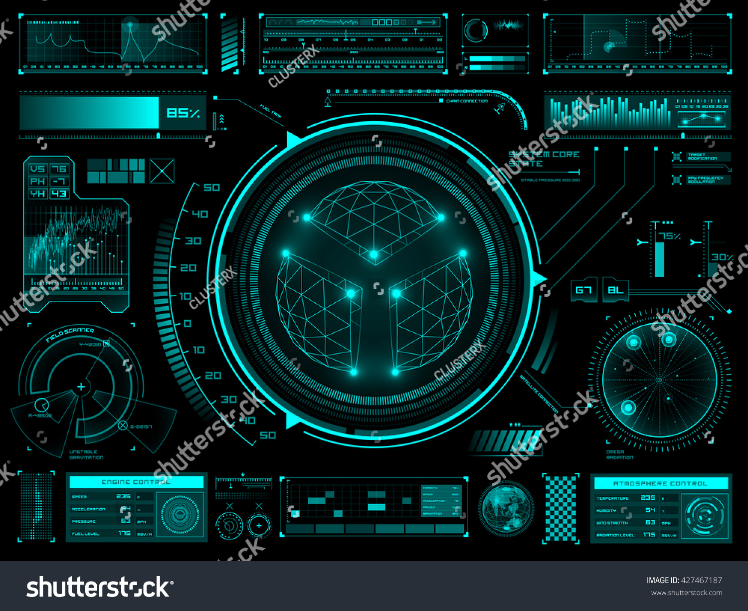 Sci Fi Control Levers : Set of futuristic user interface elements for dashboard or