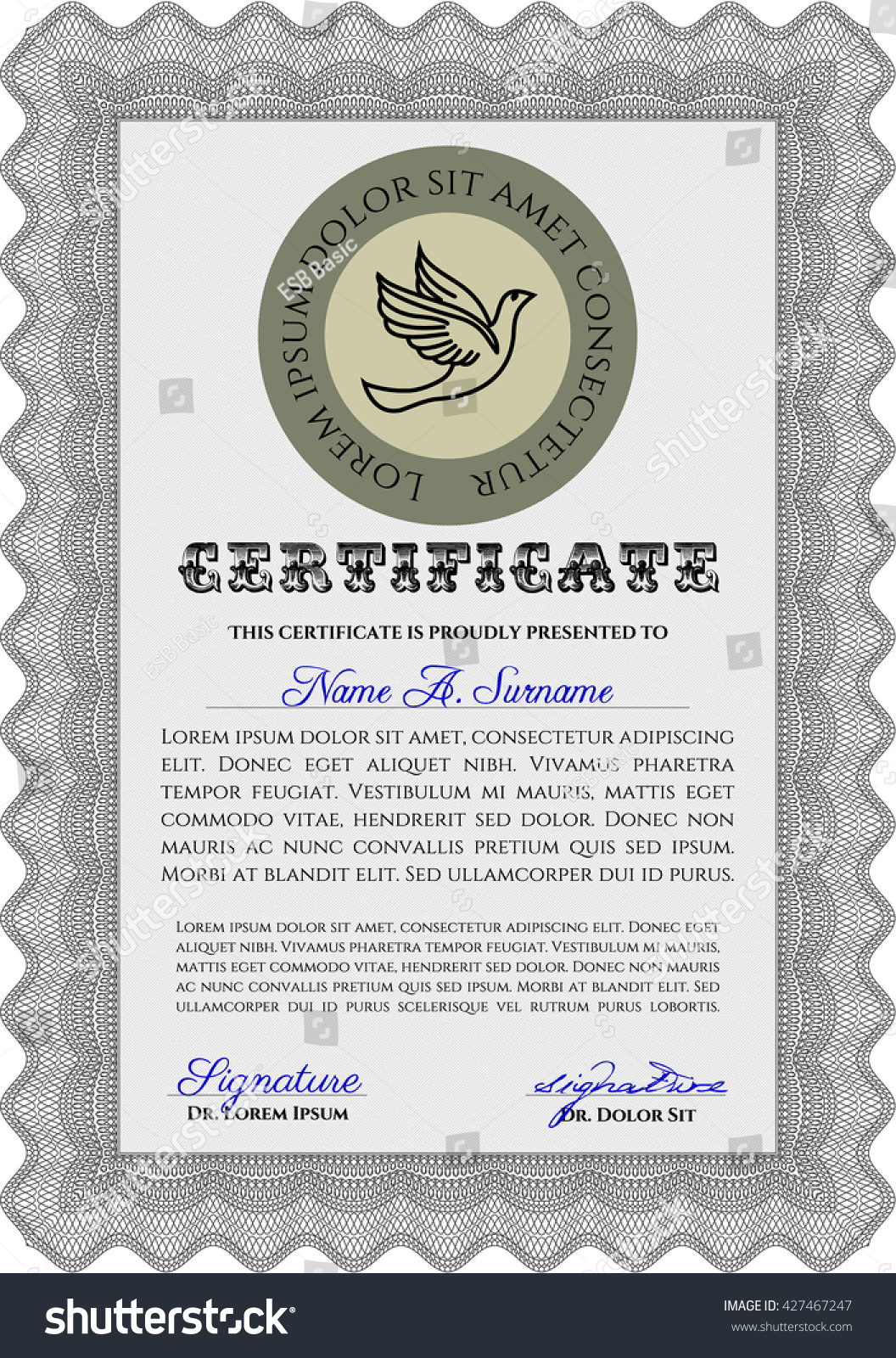 grey certificate template diploma template complex stock vector  grey certificate template or diploma template complex background beauty design vector pattern that