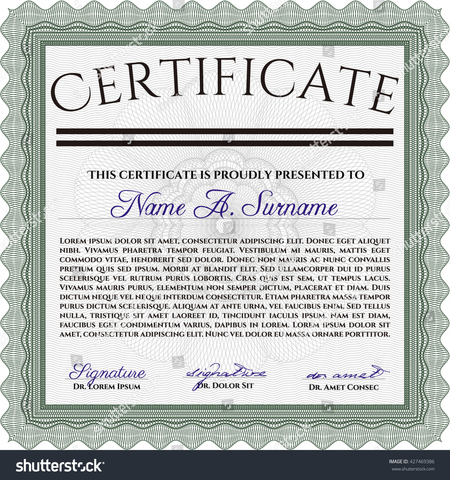 Green certificate template easy print customizable stock vector green certificate template easy to print customizable easy to edit and change colors xflitez Images
