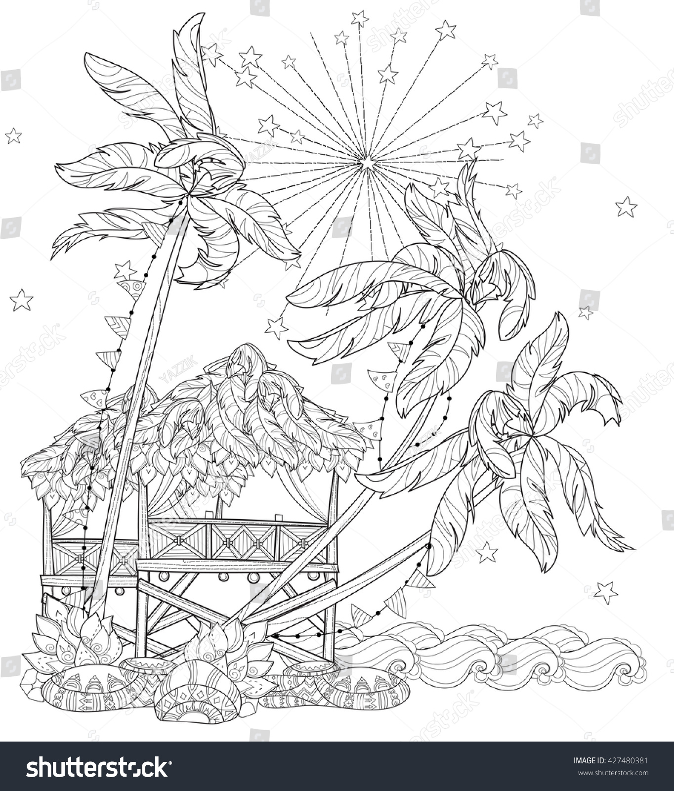 hand drawn doodle outline palm tree stock vector 427480381