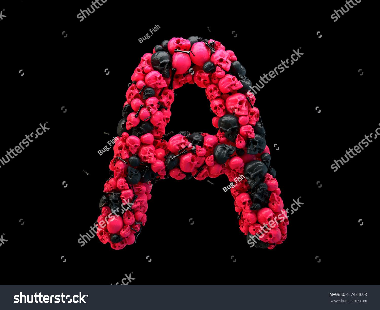 3 D Rendering Alphabet Skulls Bones 3 D Stock Illustration 427484608 ...